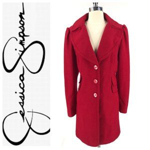 Jessica Simpson Red Princess Sleeve Wool Coat XL
